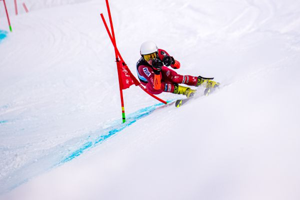 Moro Bamber, a U19 training with Vermont's Green Mountain Valley School, had the fastest first run in the FIS Tech series giant slalom Tuesday, Feb. 4, 2020, and finished the day second overall and won the men's U19 class. (Photo by Bob Eastaugh)