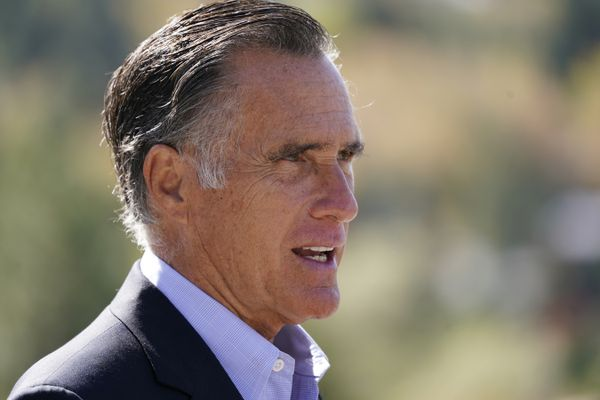 "FILE - In this Oct. 15, 2020 file photo, Sen. Mitt Romney, R-Utah, speaks during a news conference near Neffs Canyon, in Salt Lake City. Romney was named the winner of the Profile in Courage Award on Friday, March 26, 2021, for splitting with his party and becoming the only Republican to vote to convict former President Donald Trump during his first impeachment trial. ""I'm very appreciative of the honor, but also humbled by it,"" Romney told NBC's ""Today"" show in an interview aired Friday. (AP Photo/Rick Bowmer, File)"