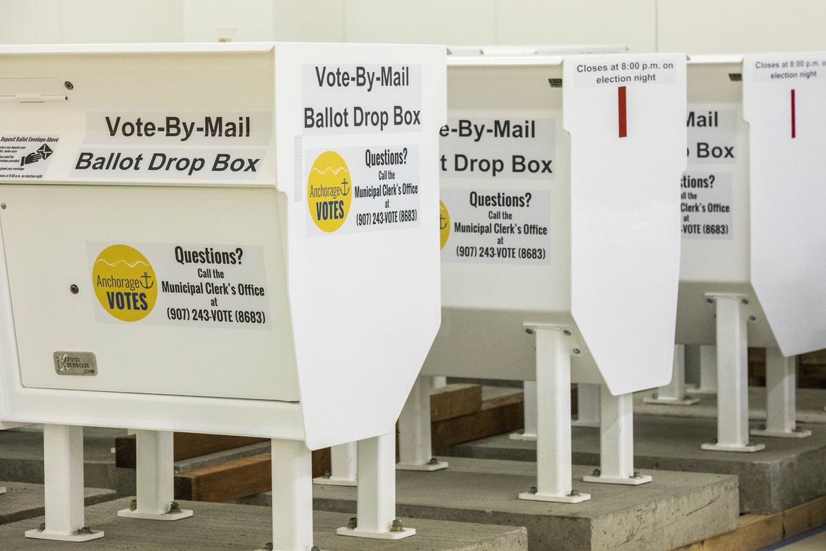 Vote-by-mail ballot drop boxes sit in the city's election central warehouse on Jan. 18, 2018. (Loren Holmes / ADN archive)