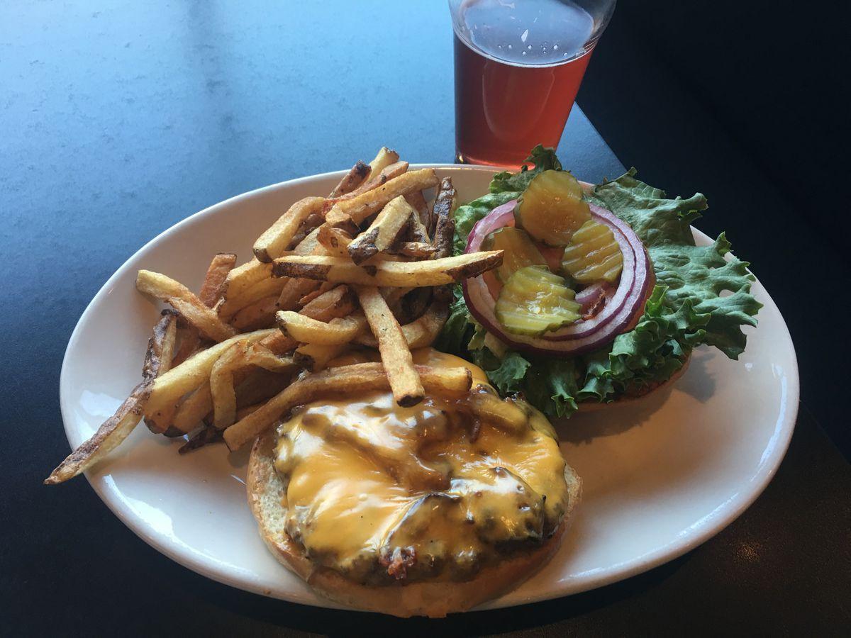 Bacon cheeseburger at Matanuska Brewing Company in Midtown Anchorage (Photo by Mara Severin)