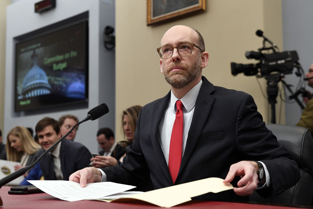 Office of Management and Budget Acting Director Russell Vought testifies before the House Budget Committee on Capitol Hill in Washington, Tuesday, March 12, 2019, during a hearing on the fiscal year 2020 budget. (AP Photo/Susan Walsh)