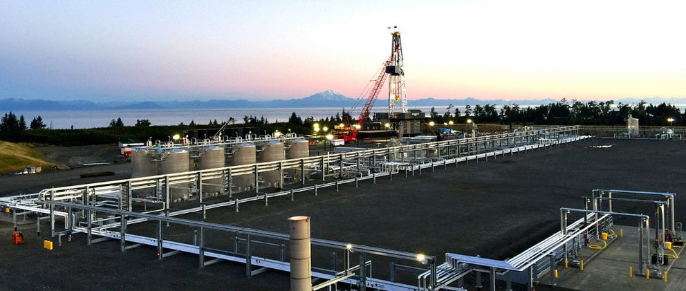 BlueCrest's $77 million long-distance drilling rig, built with help from a $30 million loan from the Alaska Industrial Development and Export Authority, will conduct hydraulic fracturing, or fracking, more than a mile beneath the floor of Cook Inlet in the spring. The siteis6 miles north of Anchor Point. (BlueCrest Energy)