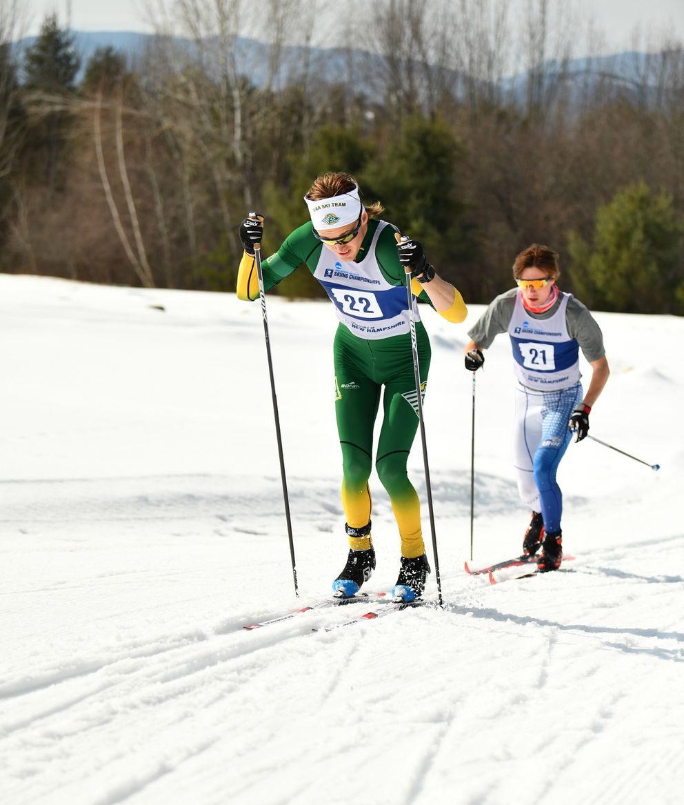 UAA's Espen Persen double-poles up a hill while skiing to fourth place in the men's 10K classic race. (Photo by Clarkson Creative Photography)