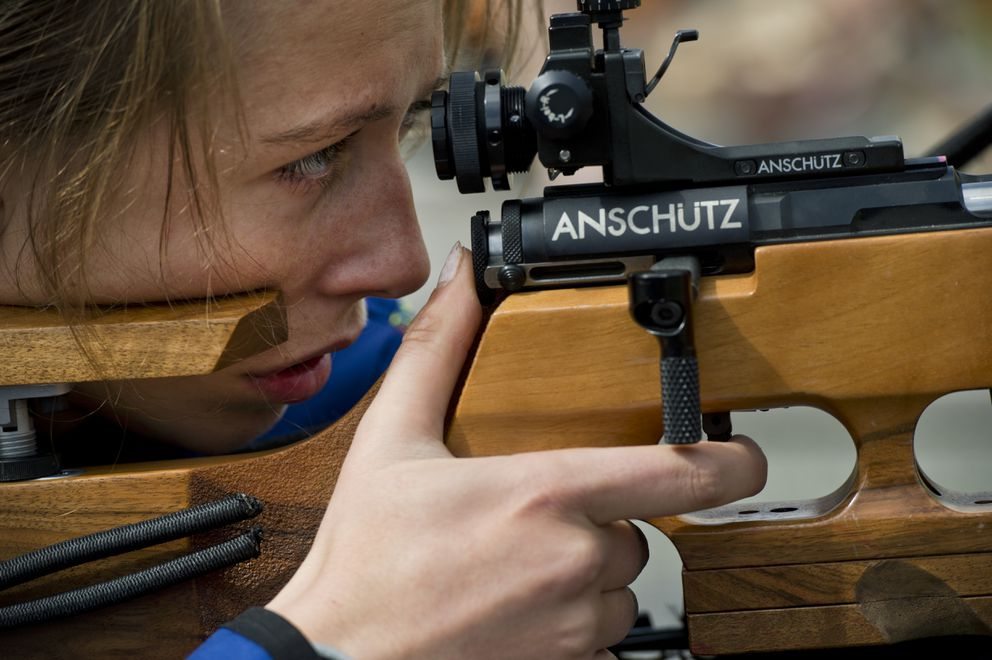 Maja Lapkass aims from a prone position. (Marc Lester / Anchorage Daily News)