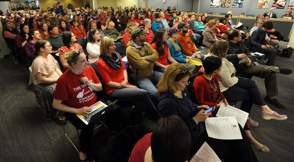 Teachers filled the School Board meeting room inside the Anchorage School District headquarters on Monday. (Bill Roth / ADN)