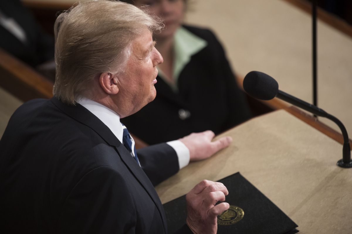 President Donald Trump addresses a joint session of Congress on Capitol Hill in Washington on Tuesday. (Stephen Crowley / The New York Times)