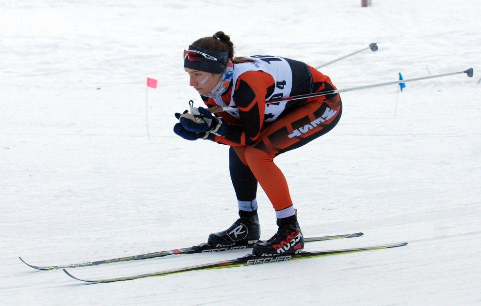 West's Aubrey Leclair tucks on a downhill. (Matt Tunseth / ADN)