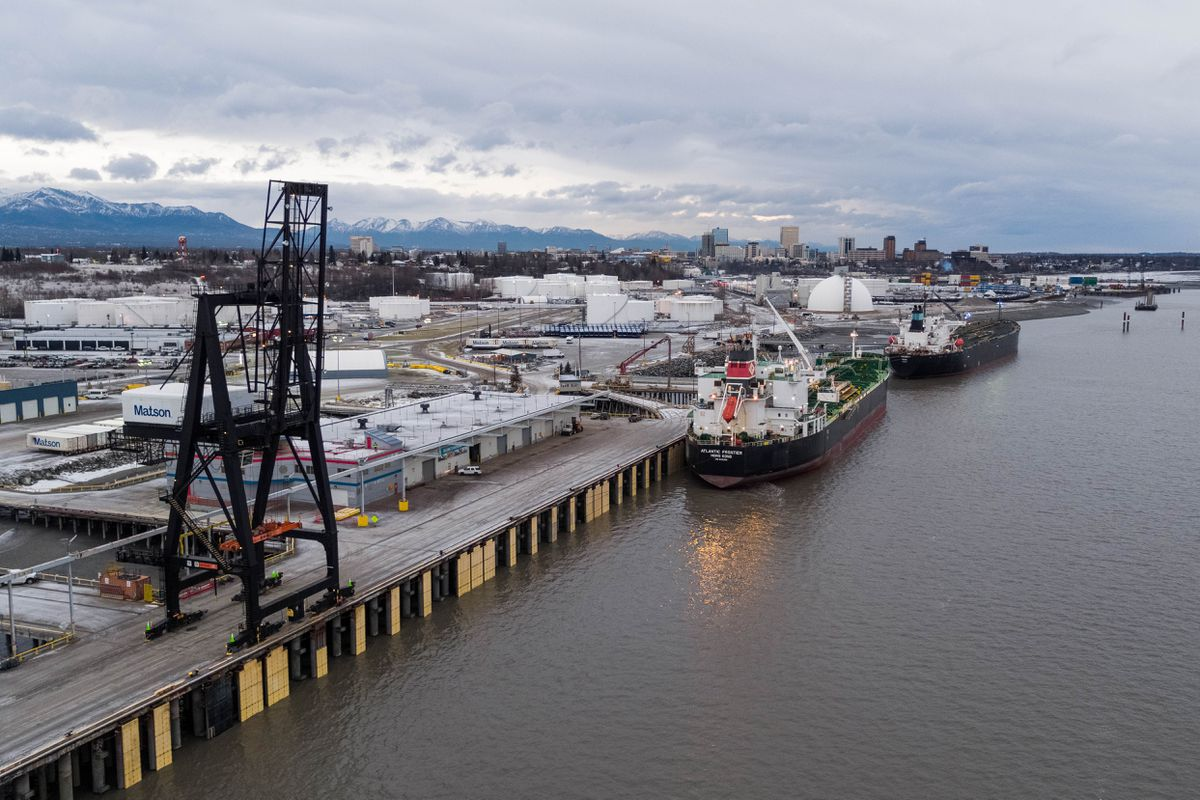 Tankers Atalanta T and Atlantic Frontier offload a combined 525,000 barrels of jet fuel at the Port of Alaska on Friday, Nov. 16, 2018. The port has a total liquid fuel storage capacity of 3.4 million barrels, or over 140 million gallons. (Loren Holmes / ADN)