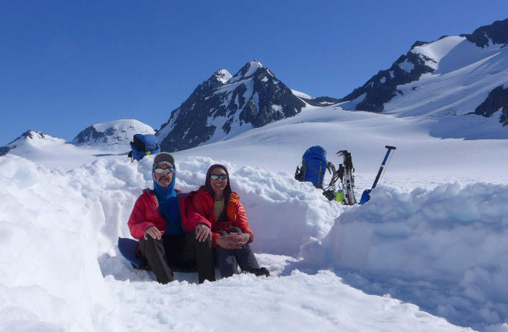 Wayne Todd and Carrie Wang on Lake George Glacier in July 2018 during their climb of Peak 6010, the last true peak in the outer Western Chugach that Todd had yet to summit. (Photo by Wayne Todd)
