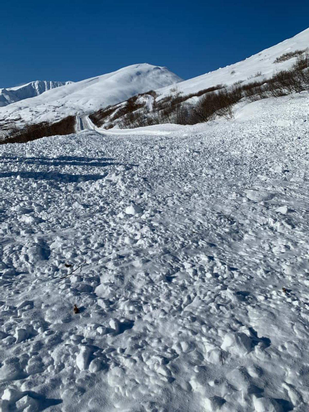 An avalanche on Friday closed the road leading to Hatcher Pass. (Photo by Hatcher Pass Avalanche Center professional staff)