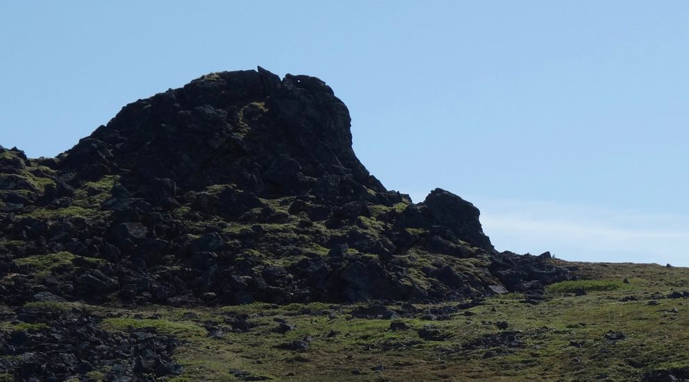 A rock formation on top of Elephant Mountain, near Eureka. (Photo by Ned Rozell)