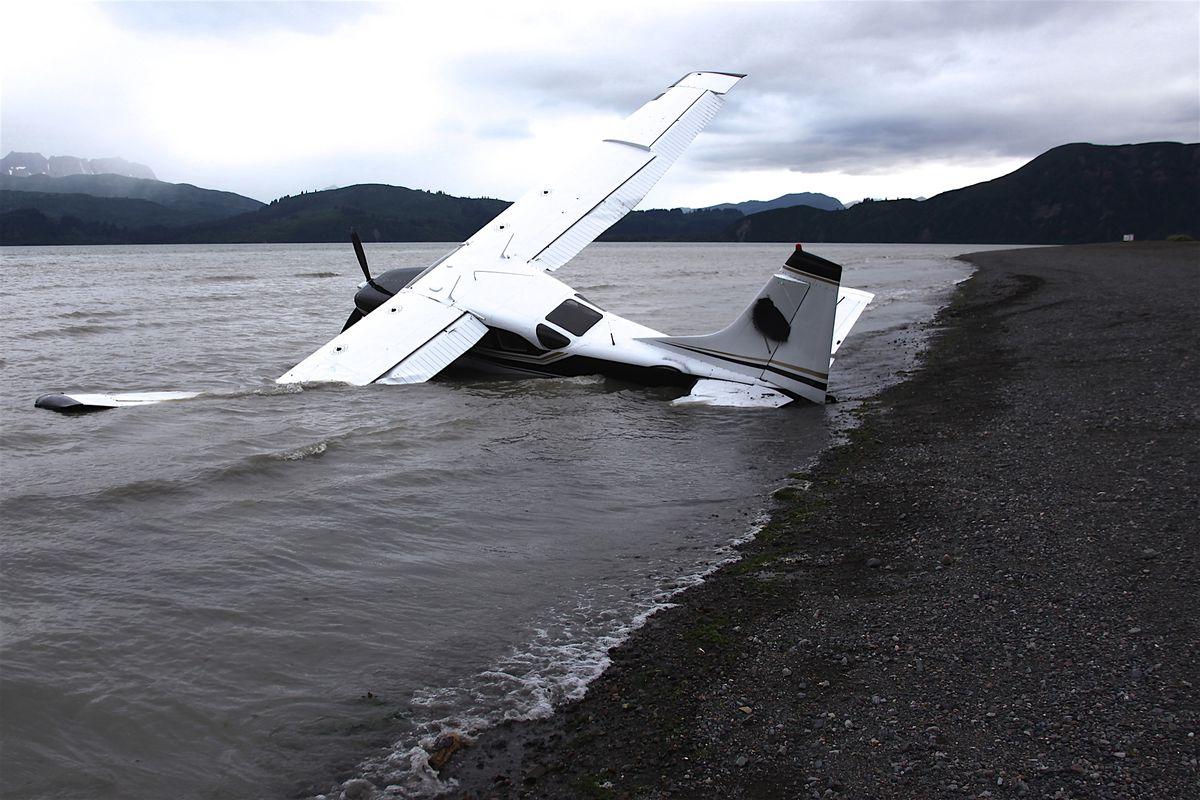 A plane had a hard landing on the Chinitna Bay beach Aug. 18, 2018. (Photo by Richard Hojohn)