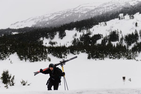 Matt Suddock, of Anchorage, returns from a backcountry ski as a light rain falls at Turnagain Pass on January 23, 2019. The Chugach National Forest Avalanche Information Center continues to operate durning the partial government shutdown. Information and advisories about conditions at Turnagain Pass and other areas can be found at cnfaic.org. (Marc Lester / ADN)