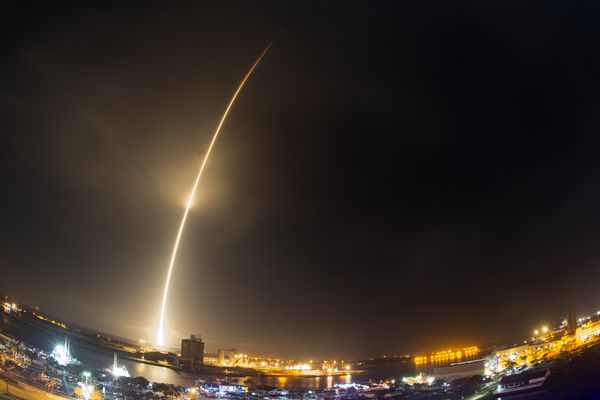 The SpaceX Falcon 9 rocket lifts off at Cape Canaveral Air Force Station, Monday, Dec. 21, 2015. The rocket, carrying 11 communications satellites for Orbcomm, Inc., is the first launch of the rocket since a failed mission to the International Space Station in June.
