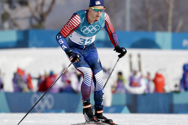 Erik Bjornsen, of the United States, competes during the men's 15km freestyle cross-country skiing competition at the 2018 Winter Olympics in Pyeongchang, South Korea, Friday, Feb. 16, 2018. (AP Photo/Kirsty Wigglesworth)