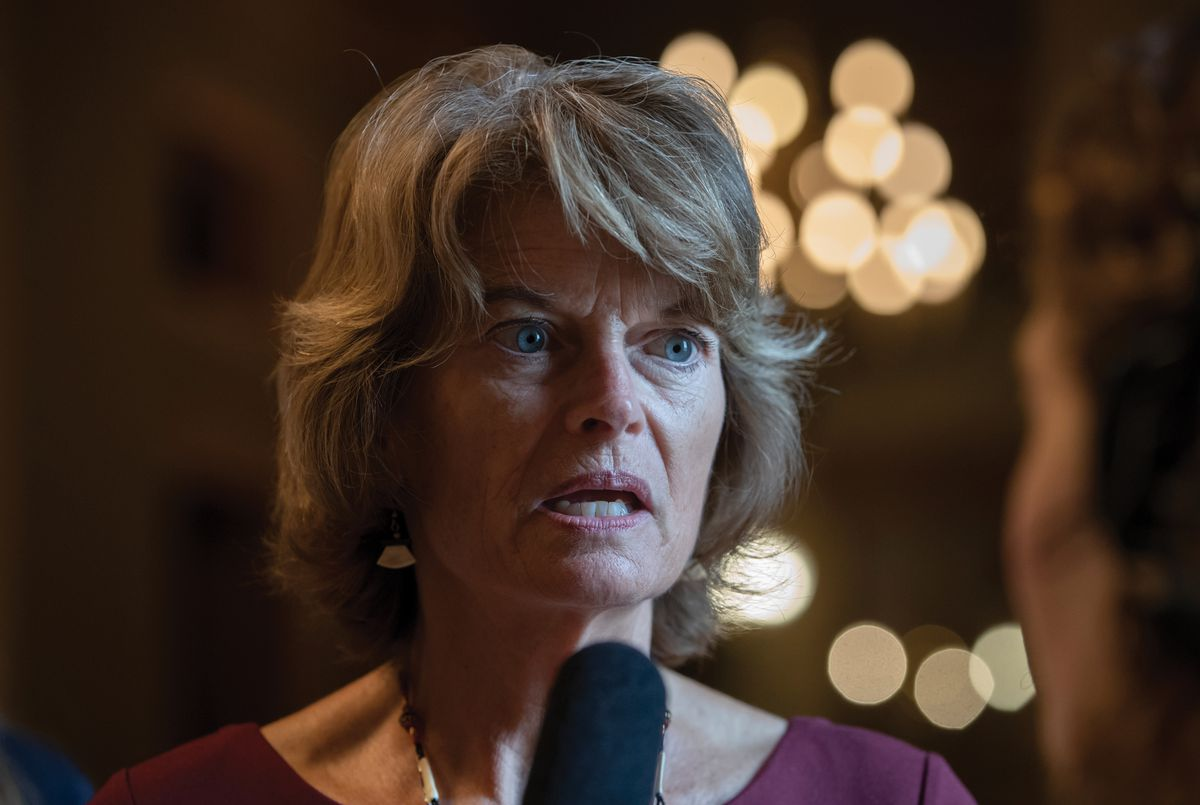 Sen. Lisa Murkowski, R-Alaska, speaks with reporters after a weekly GOP policy lunch on Capitol Hill in Washington, Tuesday, July 31, 2018.  (AP Photo/J. Scott Applewhite)