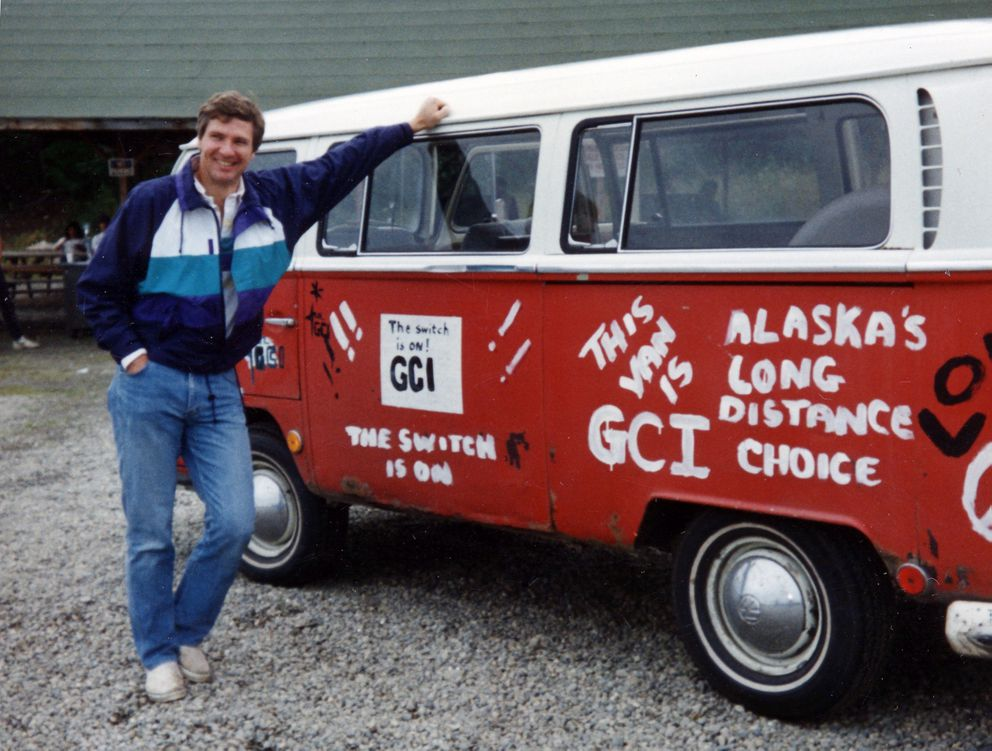 Ron Duncan founded GCI in 1979 from an apartment in Bootlegger Cove, advertising the new business on the side of a Volkswagen van. (Courtesy GCI)