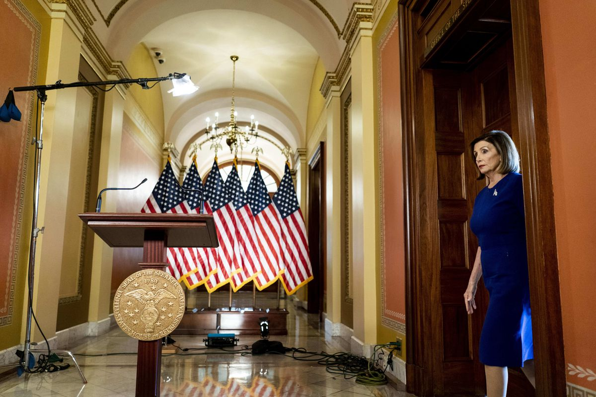 House Speaker Nancy Pelosi, D-Calif., heads to the podium Tuesday, Sept. 24, 2019, to deliver a speech concerning the formal impeachment inquiry into President Donald Trump. (Washington Post photo by Melina Mara)