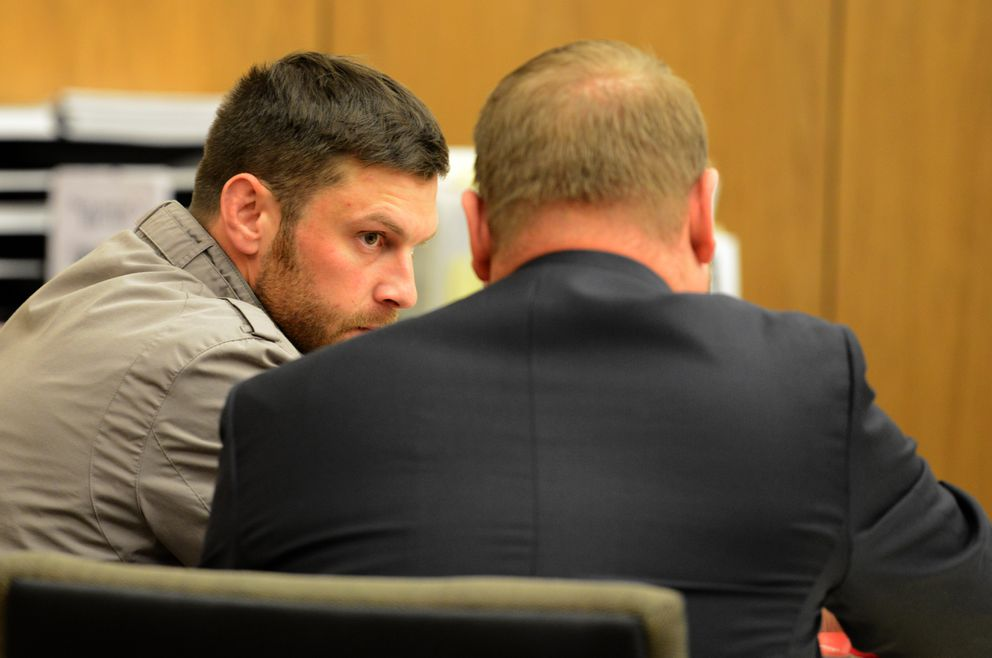 Track Palin talks with his lawyer, Patrick Bergt, before his change of plea hearing in Veterans Court at the Boney Courthouse in Anchorage, AK on Wednesday, Oct 3, 2018. (Bob Hallinen / ADN)