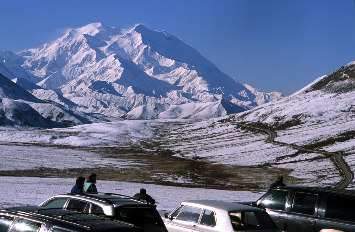Denali National Park road permit winners enjoyed the view ofDenali recently from an overlook near Stony Dome, one of the great views of the mountain on a crystal-clear day, Sept. 14, 2003. (Marc Lester/ADN archive 2003)