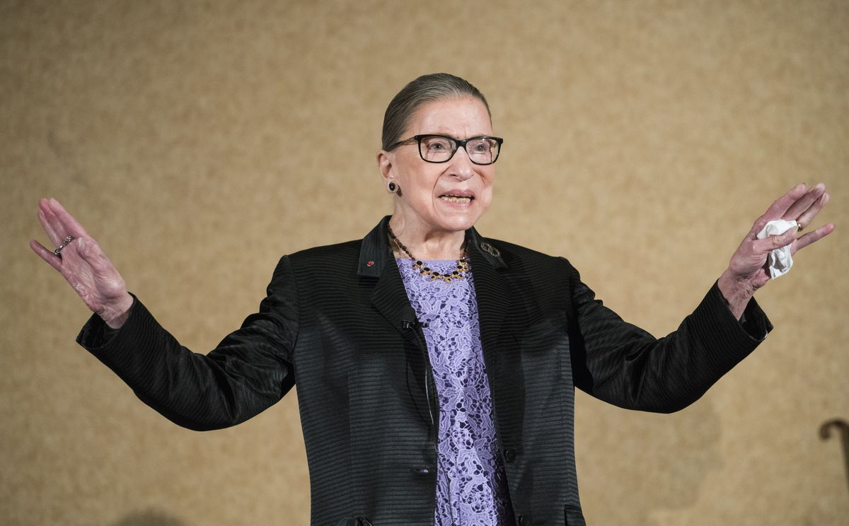 FILE - In this Aug. 19, 2016, file photo U.S. Supreme Court Justice, Ruth Bader Ginsburg, is introduced during the keynote address for the State Bar of New Mexico's Annual Meeting in Pojoaque. The Supreme Court announced Aug. 23, 2019, that Ginsburg has been treated for a malignant tumor. (AP Photo/Craig Fritz, File)