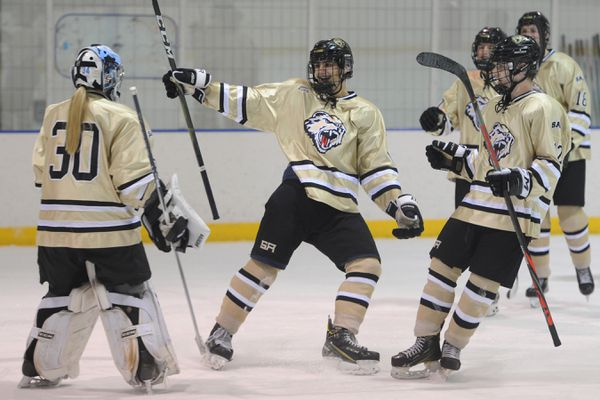 South goaltender Hannah Hogenson is congratulated by teammates after the Wolverines' 4-2 victory over the Dimond Lynx at Ben Boeke on Tuesday, Nov. 26, 2019. (Bill Roth / ADN)
