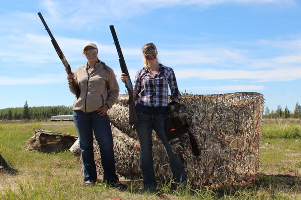 Women pose at an annual Women's Waterfowl Education Day clinic put on by the Kenai Pintail Chapter of Delta Waterfowl. (Steve Meyer)