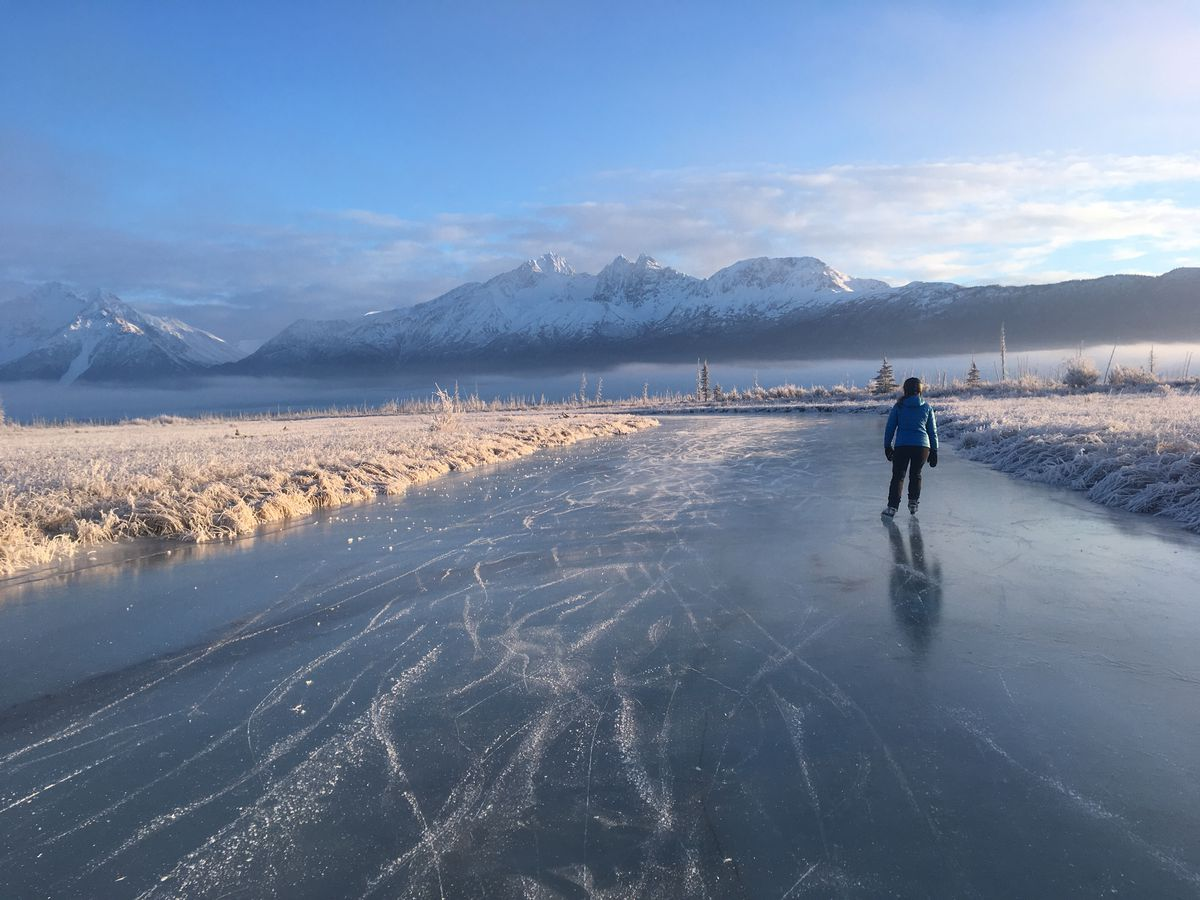 After using nordic skates on hot-mopped lakes for years, skating at Palmer Hay Flats State Game Refuge was a completely different — and wonderful — experience. (Photo by Alli Harvey)