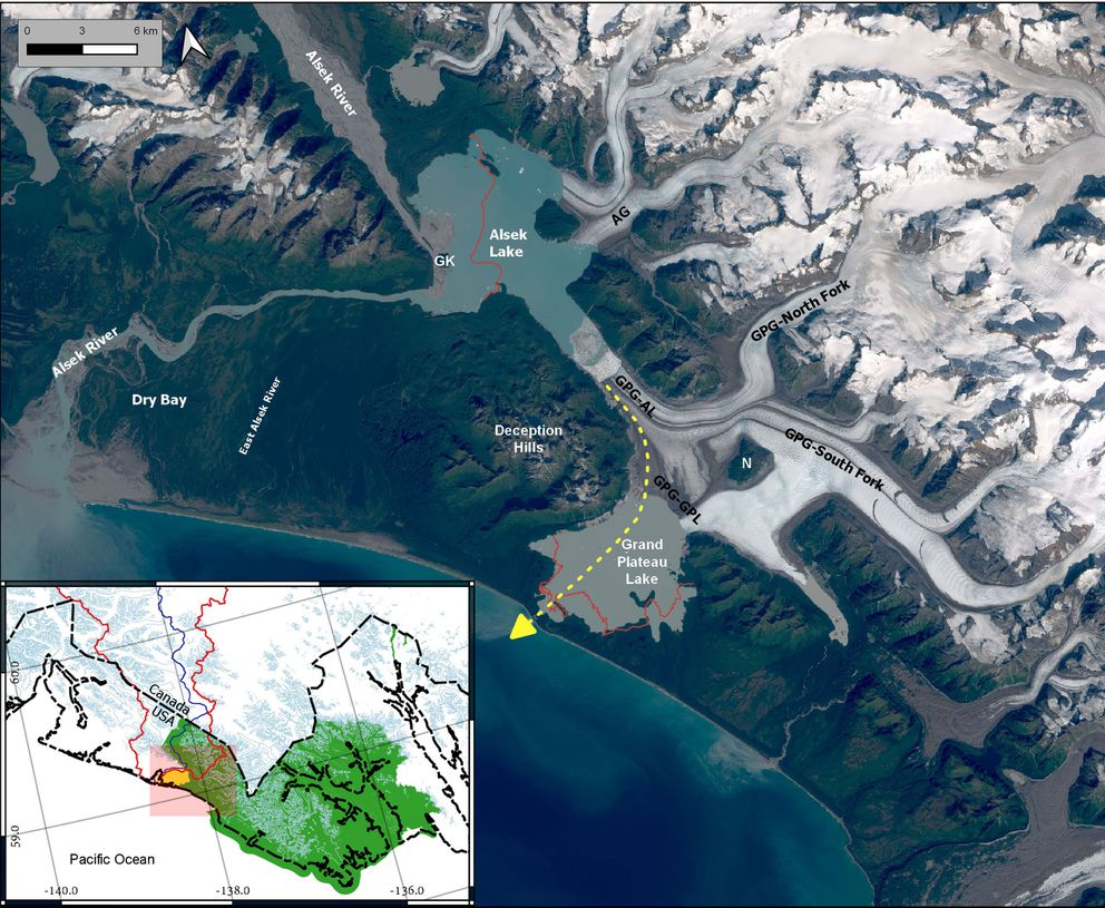 A satellite image showing the Alsek River and Grand Plateau Glacier in southern Alaska. The yellow dashed line represents where the Alsek River may soon flow due to extreme melting of Grand Plateau Glacier (labeled GPG). In the early 1900s, Alsek Glacier (AG) was connected to Grand Plateau Glacier. GK is Gateway Knob, which guarded the only pathway for the Alsek River when the glaciers shoved against the knob a century ago. (Image courtesy Michael Loso)