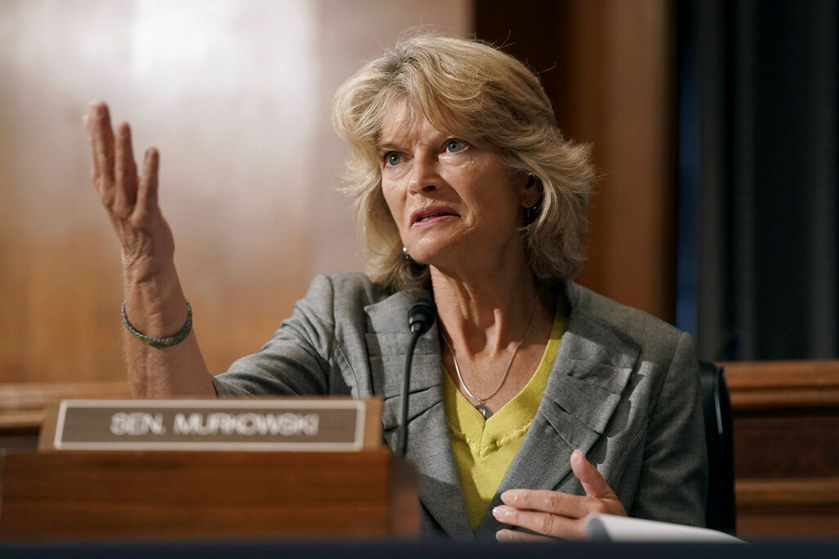 Sen. Lisa Murkowski, R-Alaska, speaks during a Senate committee hearing on vaccines Wednesday, Sept. 9, 2020, in Washington. (Greg Nash/Pool via AP)