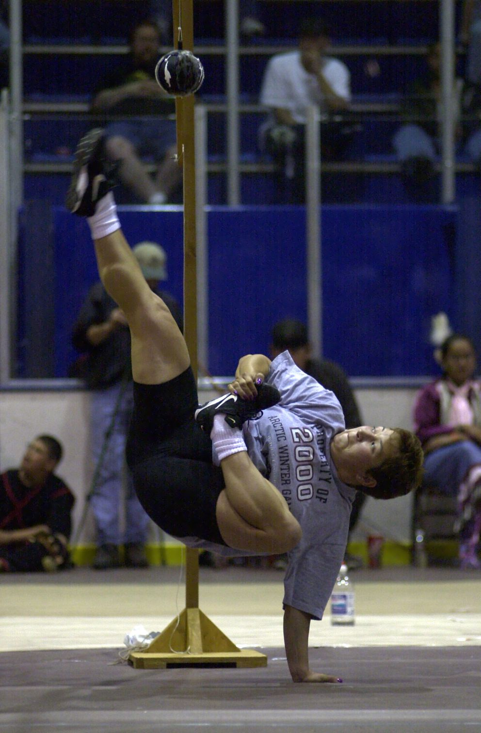Nicole Johnston competes in the the Alaska high kick at the 2000 World Eskimo-Indian Olympics. Erik Hill / ADN archive 2000