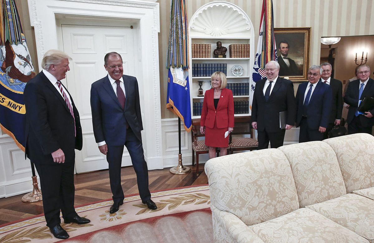 "President Trump meets with Russian Foreign Minister Sergei Lavrov and other members of the Russian delegation, including their ambassador, Sergey Kislyak, fourth from left, in a meeting that was closed to the U.S. press but photos of which were released by the Russian Foreign Ministry, May 10, 2017, in the Oval office of the White House in Washington. According to notes taken during the meeting, Trump told Russian officials, """"I just fired the head of the FBI. He was crazy, a real nut job."""" (Russian Foreign Ministry via The New York Times)"