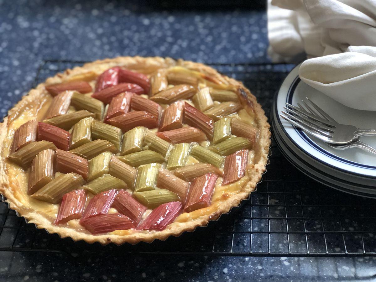 Geometric rhubarb tart. (Julia O'Malley/ADN)