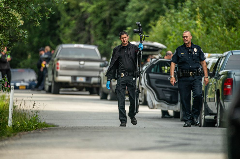 Anchorage police respond to an officer-involved shooting on Steeple Drive in Eagle River on Thursday morning. (Loren Holmes / ADN)