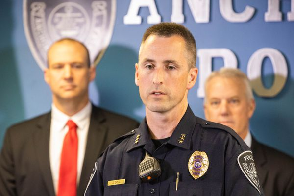 Anchorage police chief Justin Doll announces the results of Operation Midnight Sun, a multi-agency crime suppression effort, Friday, June 22, 2018 at the Anchorage Police Department headquarters. The effort, which began June 18, has so far resulted in 58 felony arrests. (Loren Holmes / ADN)