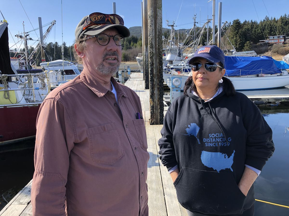 Dale and Stacy Smith, seen at a Juneau marina on Friday, April 17, 2020, spent their life's savings to start a tourism business. In March, Dale was diagnosed with terminal cancer, and weeks later, cruise ship companies began canceling sailings amid the coronavirus pandemic. (James Brooks / ADN)