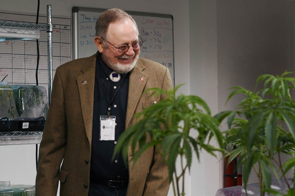 Alaska Rep. Don Young visits a marijuana growing business in a screen grab from his office's Twitter feed.
