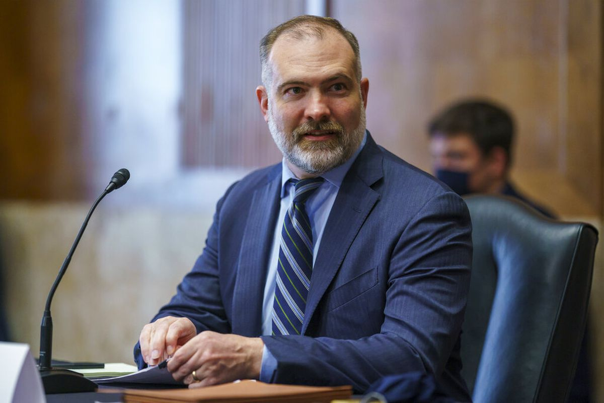Tommy Beaudreau appears before the Senate Energy and Natural Resources Committee hearing on his nomination to be deputy secretary of the Department of the Interior, at the Capitol in Washington, Thursday, April 29, 2021. (AP Photo/J. Scott Applewhite)