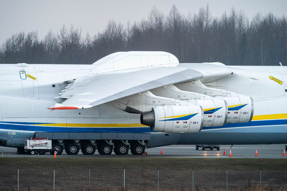 The world's largest cargo plane, the Antonov An-225 Mriya, is parked at Ted Stevens Anchorage International Airport on Thursday, April 30, 2020. The aircraft was transporting medical supplies to Canada during the COVID-19 pandemic. (Loren Holmes / ADN)