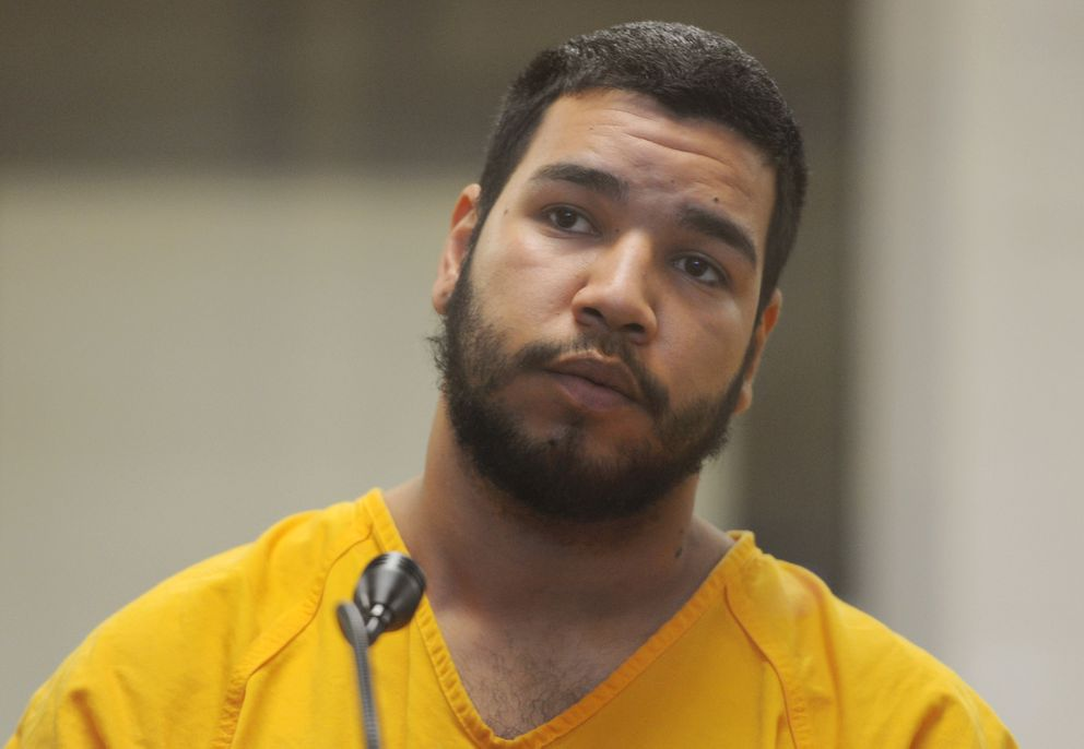 Hector Rivera, 21, was arraigned in jail court on Sunday, April 8, 2018, after being charged with multiple felonies for allegedly attacking a cab driver. (Bill Roth / ADN)