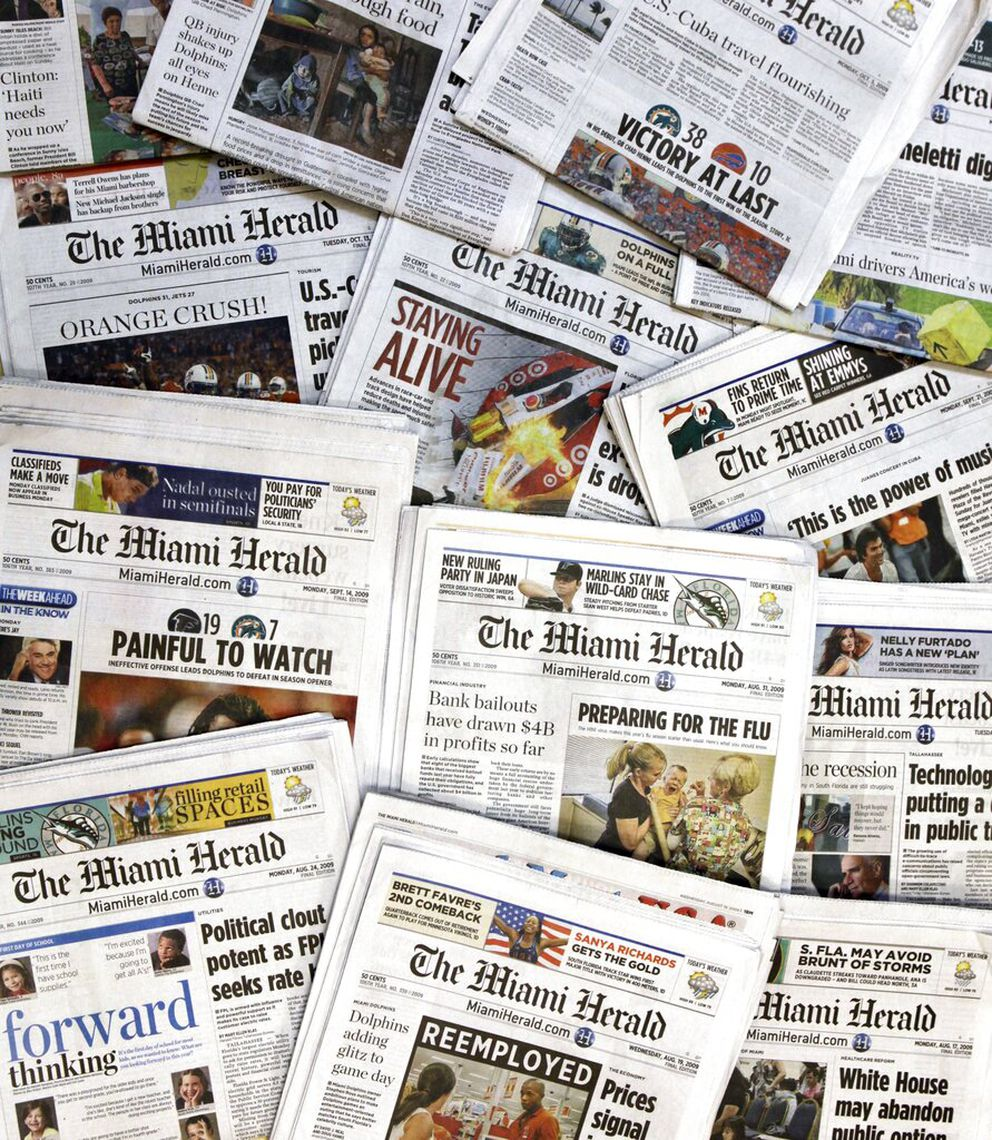 The publisher of the Miami Herald, The Kansas City Star and dozens of other newspapers across the country is filing for bankruptcy protection. (AP Photo/Wilfredo Lee, File)
