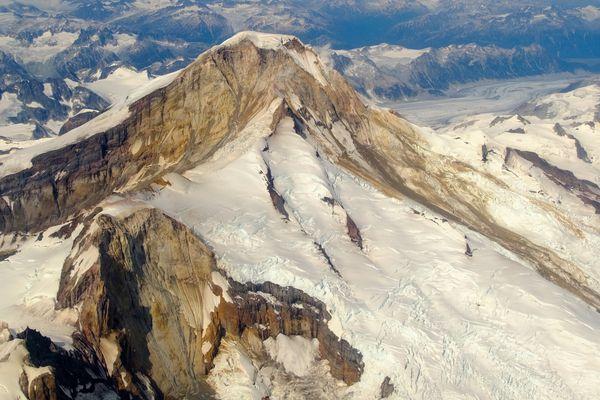 The glaciers and rock of 10,015-foot Iliamna Volcano. (Photo by Matt Loewen, Alaska Volcano Observatory)