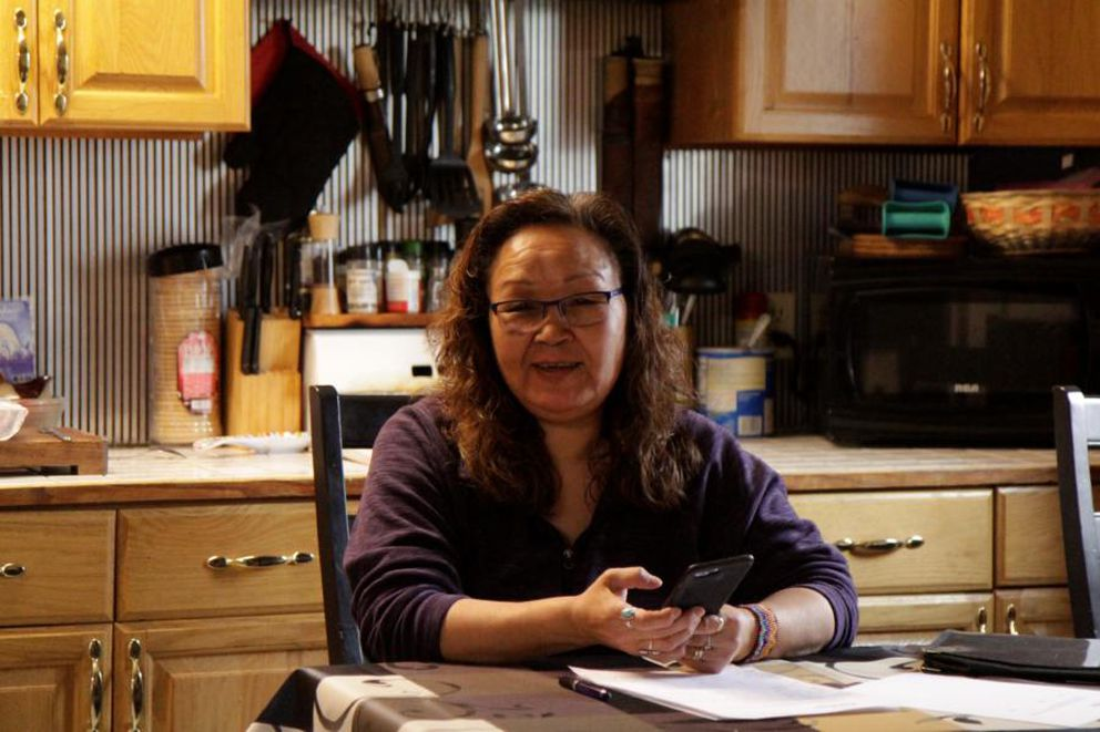Evelyn Reitan, an opponent of oil development in the refuge, worked as Kaktovik's city administrator until she was fired recently. (Photo by Nat Herz/Alaska's Energy Desk)