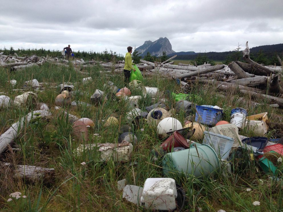 Debris is washed ashore near the southern end of Kayak Island in the Gulf of Alaska. (Courtesy Dillon Vought / Gulf of Alaska Keeper)