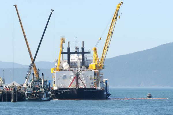 FILE -- The Arctic Challenger leaves the Port of Bellingham, Wash., in 2012.