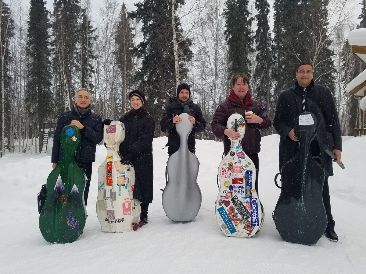 Portland Cello Project is in Alaska with an album based on the season of breakup. From left to right: Gideon Freudmann, Diane Chaplin, Douglas Jenkins, Skip vonKuske and Kevin Jackson. (Courtesy of Robert Stewart-Rogers)