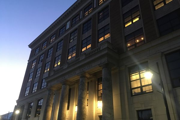 The Alaska State Capitol is seen at sunset Wednesday, March 6, 2019 in Juneau. (James Brooks / ADN)
