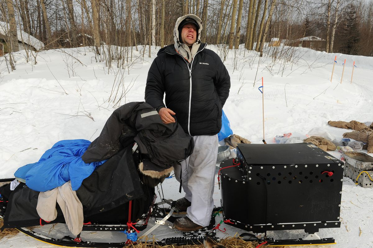 Iditarod musher Ramey Smythused a box on the back of his sled runners to haul dogs in the 2017 Iditarod Trail Sled Dog Race. Under new race rules, the compartment will be illegal in the 2018 Iditarod. (Bob Hallinen / ADN archive 2017)