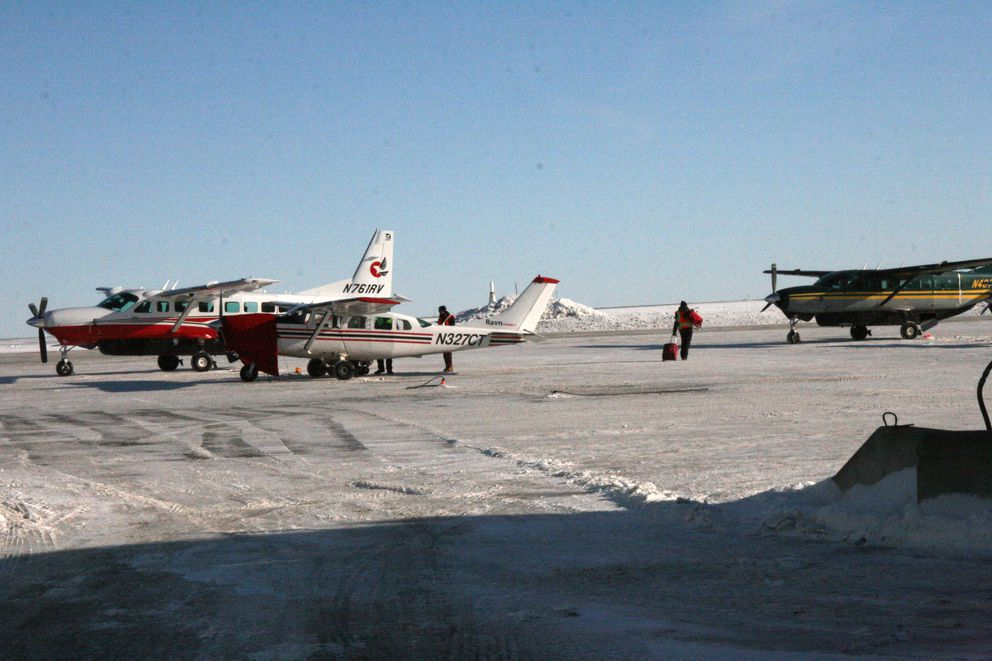 Ravn Alaska's busy ramp area in Bethel is seen on Monday. Ravn picked up extra routes — and employees — after one of its small competitors, Yute Air, closed over the weekend. (Lisa Demer / Alaska Dispatch News)