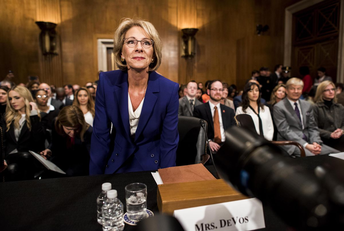President-elect Donald Trump's nominee for education secretary, Betsy DeVos, appears Tuesday before the Senate Health, Education, Labor and Pensions Committee for her confirmation hearing on Capitol Hill. (Melina Mara / The Washington Post)